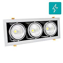 Foco led puzzle triple embutido 90w luz calida orientable