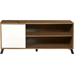 Rack de TV 130x35x55 cm Pino/Blanco