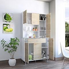 Mueble de cocina 90x35x169 cm blanco/oak