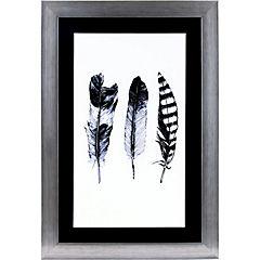 Cuadro plumas blanco/negro 40x60 cm