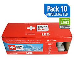 Box 10 Ampolletas LED E27 7W Blanca