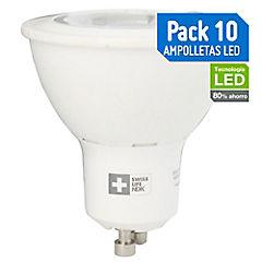 Pack 10 Ampolletas LED GU10 7W Amarilla