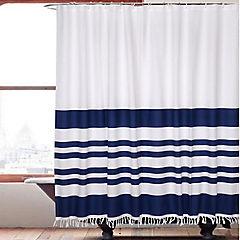 Cortina baño flecos Marinera azul 180x180 cm