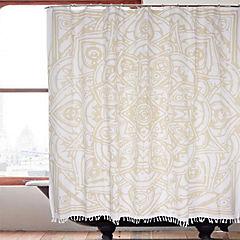 Cortina baño flecos Mandala 180x180 cm
