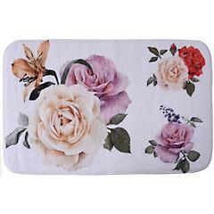 Alfombra de baño 45x47 cm impresión flor y rosas