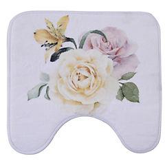 Alfombra de baño 45x45 cm impresión flor y rosas