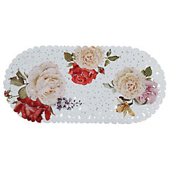 Alfombra de baño PVC 69x35 cm bañera flores y rosas