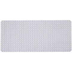Alfombra de baño PVC 78x35 cm blanca baño cuadrados