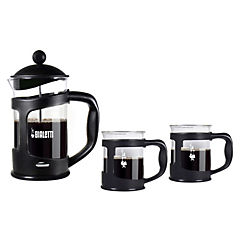 Set cafetera presión negra + 2 mugs