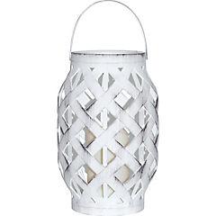 Farol con vela led 16x16x23 cm blanco