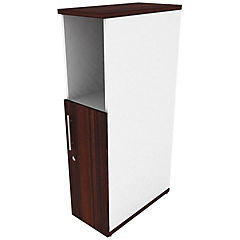 Mini locker media puerta derecho blanco/chocolate