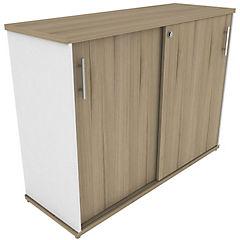 Gabinete puertas correderas 1200 blanco/nogal ceniza