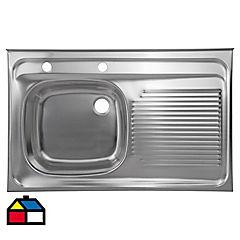 Lavaplatos 80x50x15,5 cm acero inoxidable