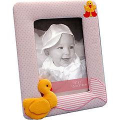 Marco de tela infantil patito 10x15 cm rosado