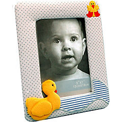 Marco de tela infantil patito 10x15 cm celeste