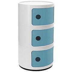 Organizador bicolor 3 cuerpos 33x33x60 cm azul puerta blanca
