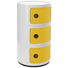 Organizador bicolor 3 cuerpos 33x33x60 cm blanco puerta amarilla
