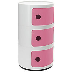 Organizador bicolor 3 cuerpos 33x33x60 cm blanco puerta rosa