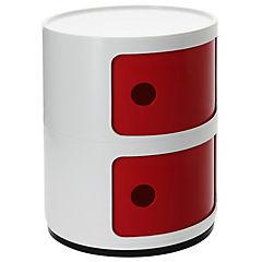Organizador bicolor 2 cuerpos 33x33x42 cm blanco puerta roja