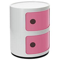 Organizador bicolor 2 cuerpos 33x33x42 cm blanco puerta rosa