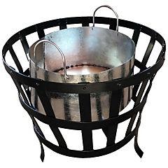 Brasero fogón de fierro redondo para leña o carbón