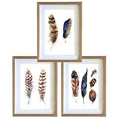 Set 3 cuadros 40x50 cm marco madera plumas etnico