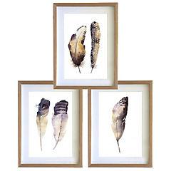 Set 3 cuadros 40x50 cm marco madera plumas acuarelado