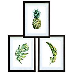 Set 3 cuadros 30x40 cm marco negro  piña y hojas tropicales