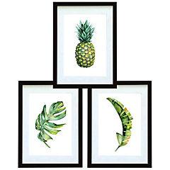Set 3 cuadros 40x50 cm marco negro  piña y hojas tropicales