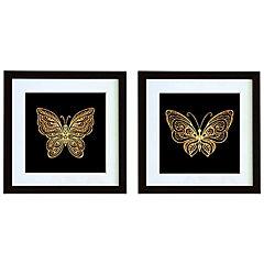 Set 2 cuadros 30x30 cm marco negro mariposa
