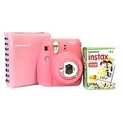 Kit Cámara instax mini 9 rosada + pack 20 peliculas + album espiral