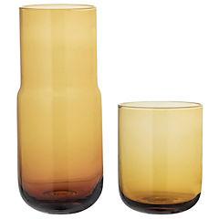 Decantador 650 ml y vaso de vidrio ocre 350 ml