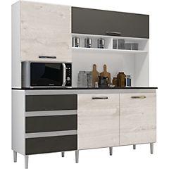 Modular de cocina florencia 1.98x1.82x0.48 cm blanco/platina/castaño