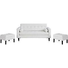 juego sofá retro 50 pu blanco 3 cuerpos + 2 pouf