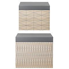 Set de 2 cajas de madera gris y natural