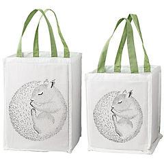 Set 2 bolsas de compras 30x25x40x2 cm algodón