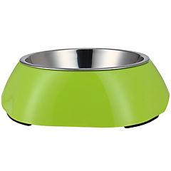 Plato de comida mascota acero inoxidable y melamina verde