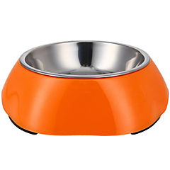 Plato de comida mascota acero inoxidable y melamina naranja
