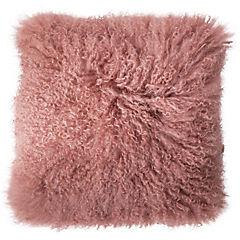 Cojín 40x40 cm piel de cordero rosado