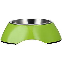 Plato comida mascota acero inoxidable y melamina verde