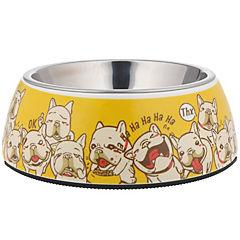 Plato comida mascota acero inoxidable y melamina amarillo