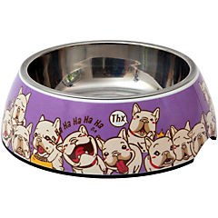 Plato de comida para mascota ,acero inoxidable y melamina 380 g,lila