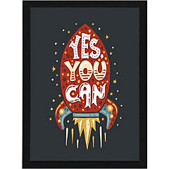 Cuadro 40x50 cm marco  frase yes you can