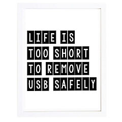 Cuadro 30x40 cm marco  frase life is too short