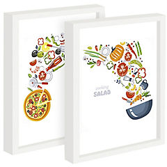 Set 2 cuadros 22x27 cm marco blanco diseño cooking