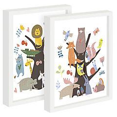 Set 2 cuadros 22x27 cm marco  animales bosque