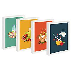 Set 4 cuadros 22x27 cm marco blanco cocina