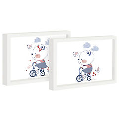 Set 2 cuadros 22x27 cm marco  diseño animales triciclo