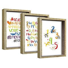 Set 3 cuadros 22x27 cm marco  natural diseño números y letras