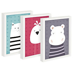 Set 3 cuadros 22x27 cm marco  diseño animales